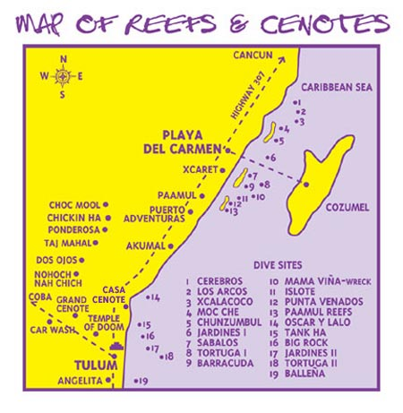 Dive Site Map Abyss Dive Center Playa del Carmen Mexico